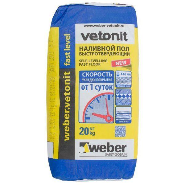 Наливной пол быстротвердеющий Weber Vetonit Fast Level