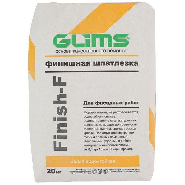 Шпаклёвка фасадная финишная Glims Finish-F