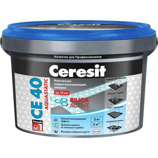 Затирка Сeresit CE-40 Aquastatic 2 кг Серая 07