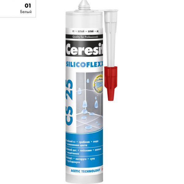 Герметик силиконовый - затирка  Ceresit CS 25 Silicoflex 280 мл белый 01