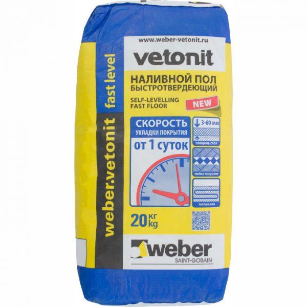 Наливной пол Weber-Vetonit быстротвердеющий 20 кг
