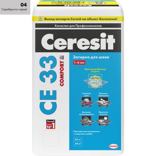 Затирка Ceresit СЕ 33 Comfort высокопрочная 04 серебристо-серая 25 кг