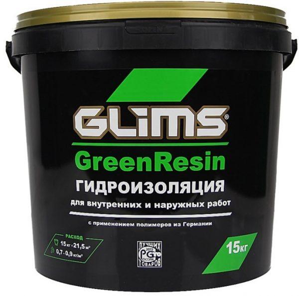 Гидроизоляция эластичная GLIMS GreenResin на водной основе 15 кг